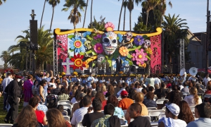 Stage at Dios de Los Muertos, Day of the Dead, Hollywood Forever Cemetery