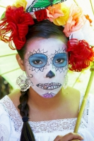 Woman dressed in costume at Day of the Dead (Dia de los Muertos) at Hollywood Forever Cemetery