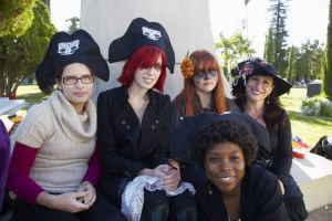 Five young women dressed in costume at Day of the Dead (Dia de los Muertos) at Hollywood Forever cemetery