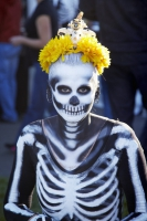 Woman dressed like a skeleton at Day of the Dead (Dia de los Muertos) at Hollywood Forever cemetery