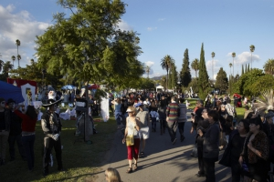 Crowd at Day of the Dead (Dia de los Muertos) at Hollywood Forever cemetery