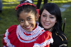 Two girls in costume at Day of the Dead (Dia de los Muertos) at Hollywood Forever cemetery