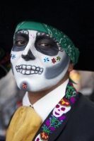 Portrait of man in costume at Day of the Dead (Dia de los Muertos) at Hollywood Forever cemetery